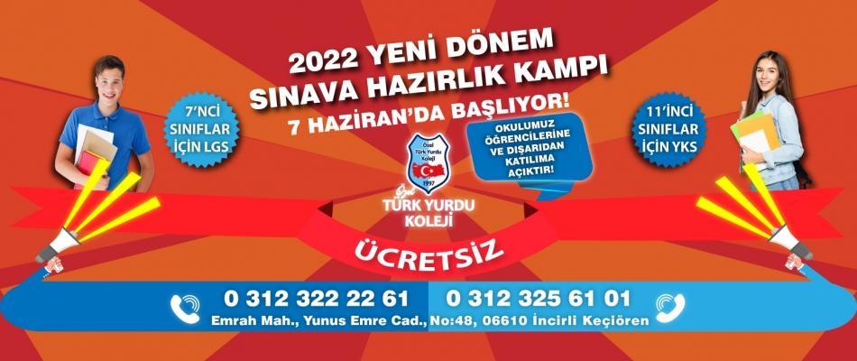 TÜRK YURDU KOLEJİ 2022 YENİ DÖNEM SINAVA HAZIRLIK KAMPI 7 HAZİRAN'DA BAŞLIYOR!